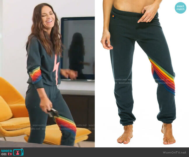 Chevron Stripe Joggers in Charcoal by Aviator Nation worn by Lisa Barlow  on The Real Housewives of Salt Lake City