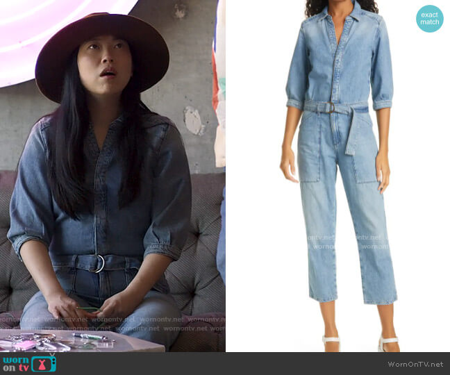 ba&sh Frida Denim Jumpsuit worn by Nora Lum (Awkwafina) on Awkwafina is Nora From Queens