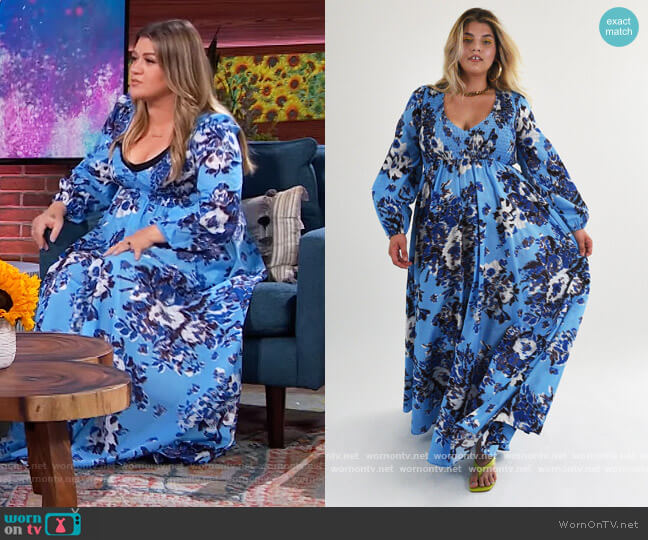 Blue Floral Maxi Dress by Baacal worn by Kelly Clarkson  on The Kelly Clarkson Show