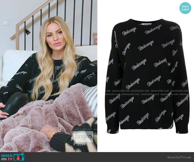 knitted all-over logo jumper by Balenciaga worn by SaraJane Warner on RHOSLC