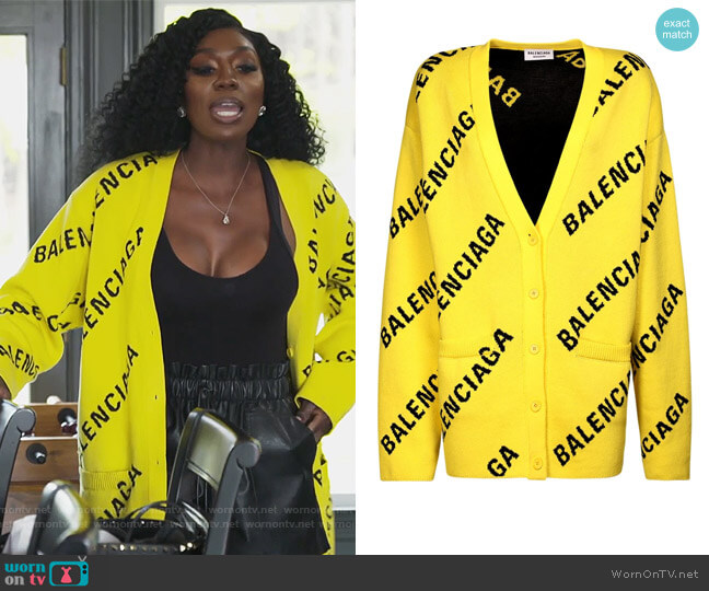 Logo Cardigan by Balenciaga worn by Wendy Osefo  on The Real Housewives of Potomac