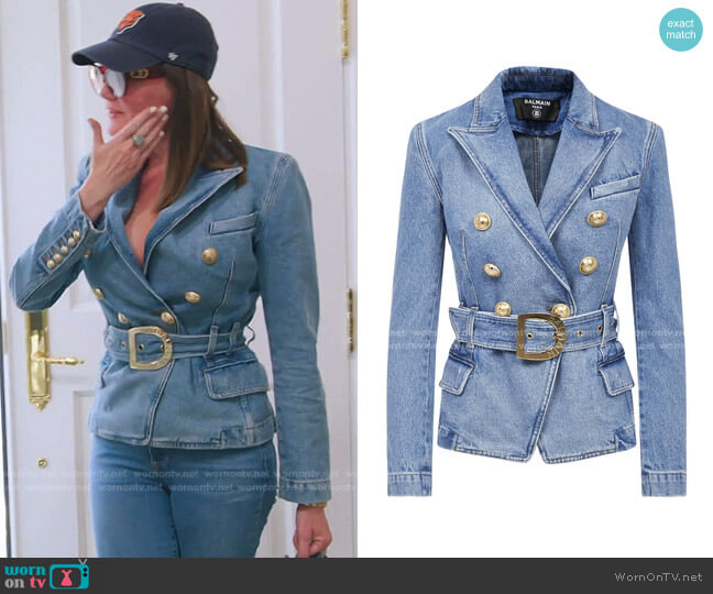 Double Breasted Denim Jacket by Balmain worn by Meredith Marks  on The Real Housewives of Salt Lake City