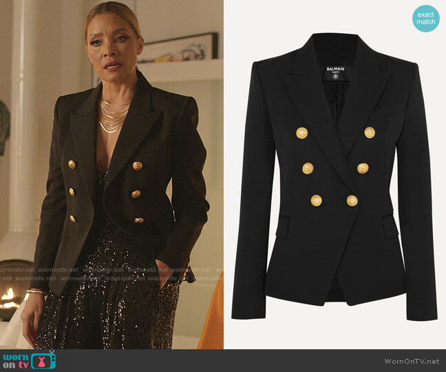 Classic Double-Breasted Blazer by Balmain worn by Dominique Deveraux (Michael Michele) on Dynasty