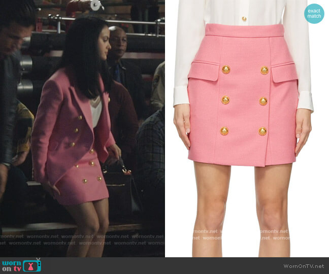 Pink Double-Buttoned Miniskirt by Balmain worn by Veronica Lodge (Camila Mendes) on Riverdale
