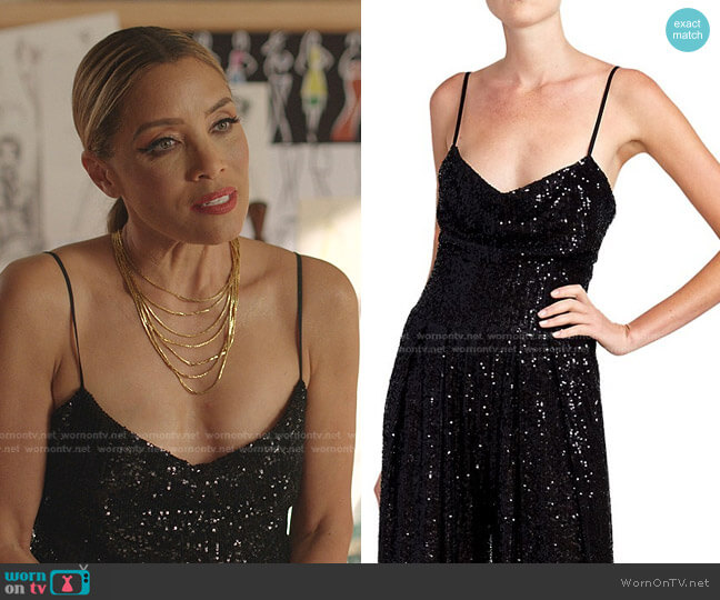 Sequined Spaghetti Strap Bodysuit by Balmain worn by Dominique Deveraux (Michael Michele) on Dynasty