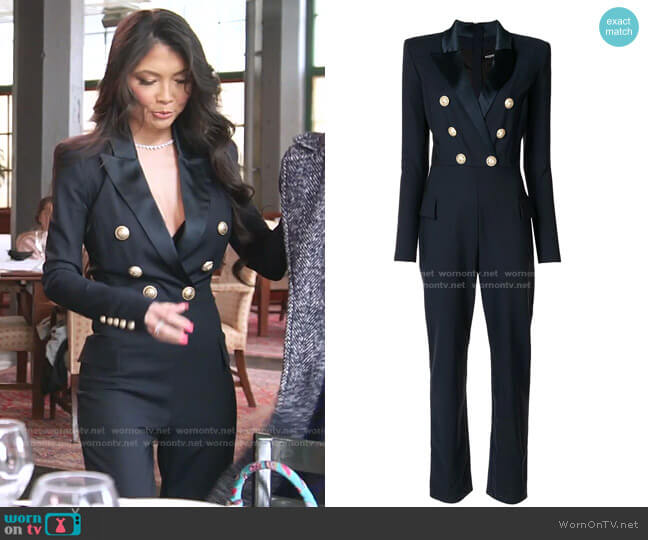 Double-Breasted Stretch Jumpsuit by Balmain worn by Jennie Nguyen  on The Real Housewives of Salt Lake City