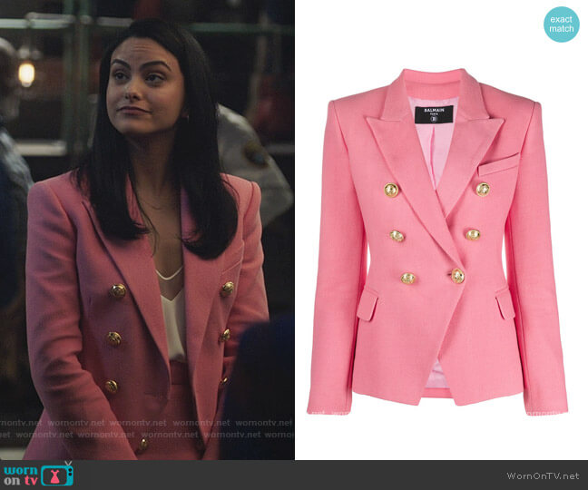 Double Breasted Tailored Blazer by Balmain worn by Veronica Lodge (Camila Mendes) on Riverdale