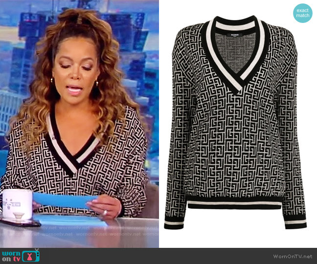 Monogram Jacquard Jumper by Balmain worn by Sunny Hostin  on The View
