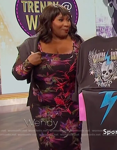 Bevy Smith's black floral print mesh dress on The Wendy Williams Show