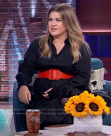 Kelly's black ruffle hem dress on The Kelly Clarkson Show