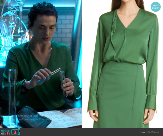 BOSS Iadelia Ruffle Silk Blend Blouse worn by Lena Luthor (Katie McGrath) on Supergirl