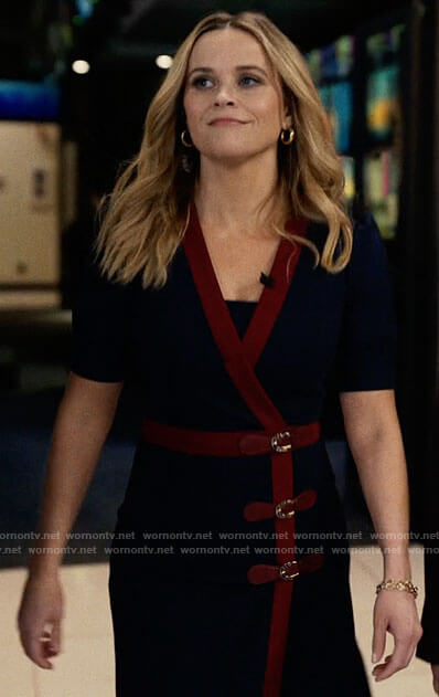 Bradley's blue buckled wrap dress with red trim on The Morning Show