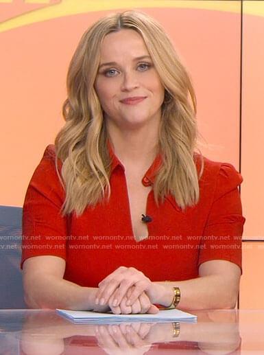 Bradley's red short sleeved dress on The Morning Show