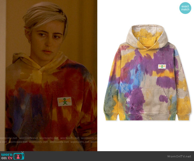 Brain Dead Shout PVC Patch Hoody worn by Sarah Finley (Jacqueline Toboni) on The L Word Generation Q