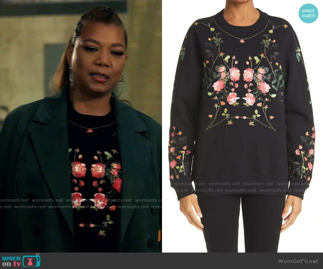 Burberry Fairhall Rose Print Oversize Sweatshirt worn by Robyn McCall (Queen Latifah) on The Equalizer