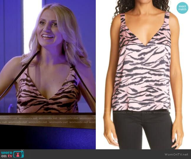 Cami NYC The Diane Prism Zebra Silk Tank worn by Gina Dabrowski (Annaleigh Ashford) on B Positive
