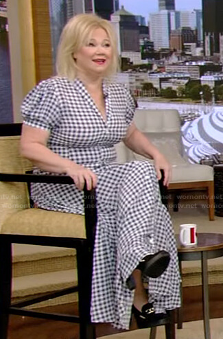 Caroline Rhea's blue gingham check maxi dress on Live with Kelly and Ryan