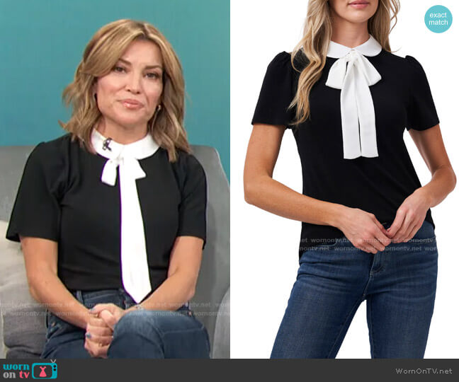 Tie Neck Top by Cece worn by Kit Hoover  on Access Hollywood