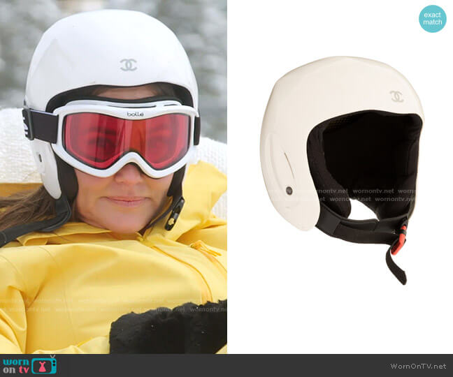 PVC Snowboard Helmet by Chanel worn by Meredith Marks  on The Real Housewives of Salt Lake City