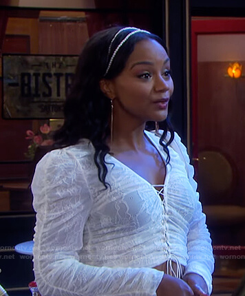 Chanel's white cropped lace-up top on Days of our Lives
