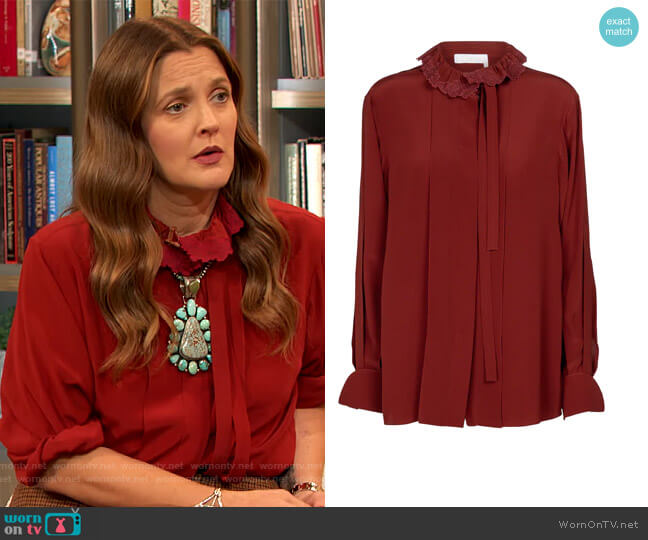 Embroidered tie-neck silk blouse by Chloe worn by Drew Barrymore  on The Drew Barrymore Show
