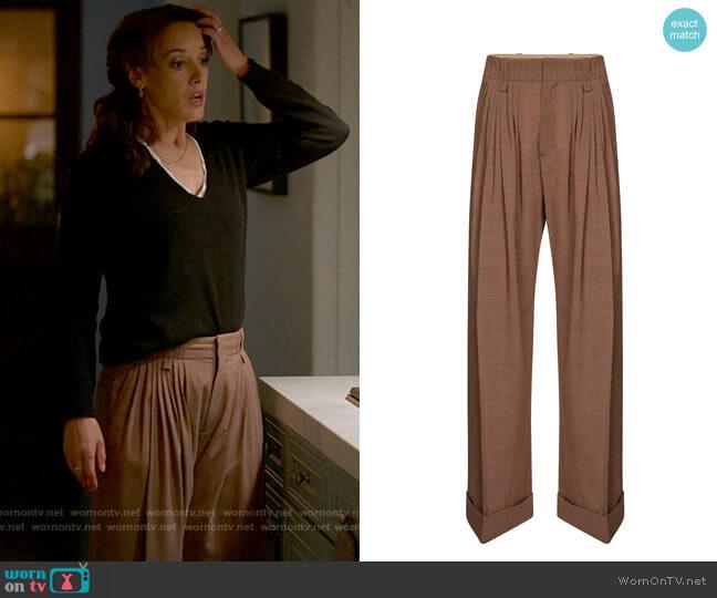 Chloe High-rise wide-leg virgin wool pants worn by Bette Porter (Jennifer Beals) on The L Word Generation Q