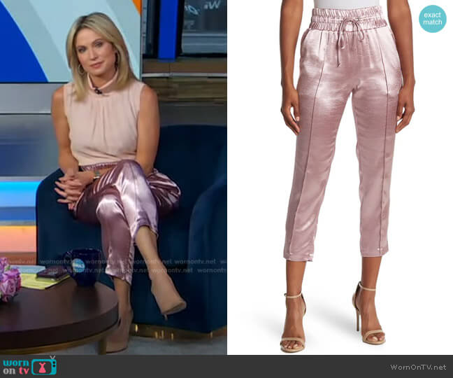 Adalie Hammered Satin Drawstring Pants by Cinq a Sept worn by Amy Robach  on Good Morning America