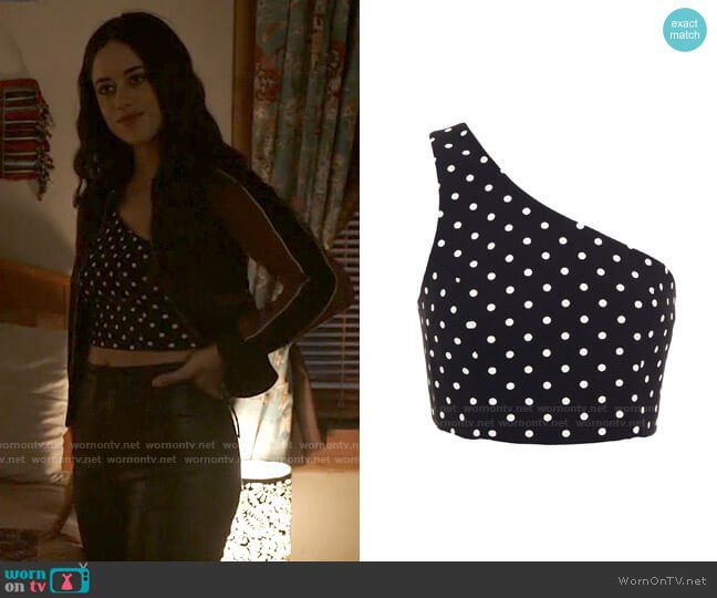 Cinq a Sept Maayan Polka Dot Top worn by Liz Ortecho (Jeanine Mason) on Roswell New Mexico
