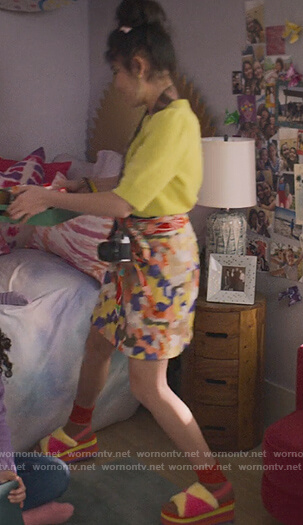 Claudia's patchwork printed mini skirt on The Baby-Sitters Club