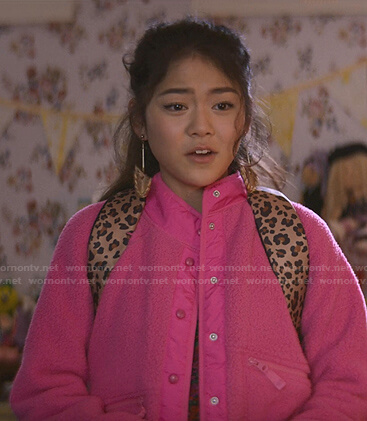Claudia's pink fleece jacket on The Baby-Sitters Club