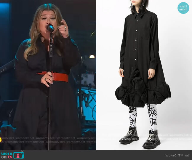 Ruffled Hem Shirt Dress by Comme Des Garcons worn by Kelly Clarkson  on The Kelly Clarkson Show