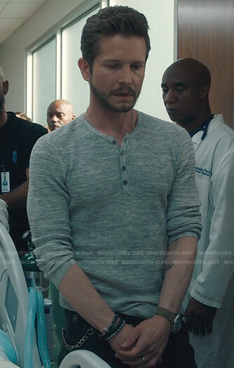 Kit Voss's white chain print blouse on The Resident