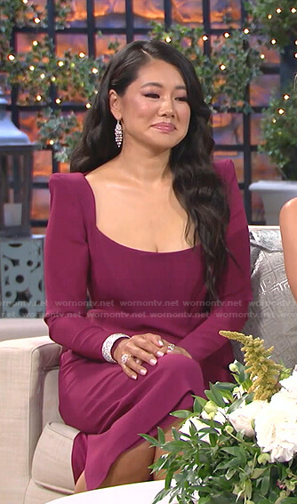 Crystal's purple scoop neck dress on The Real Housewives of Beverly Hills