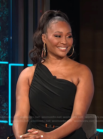 Cynthia Bailey's black ruched one-shoulder dress on E! News Daily Pop