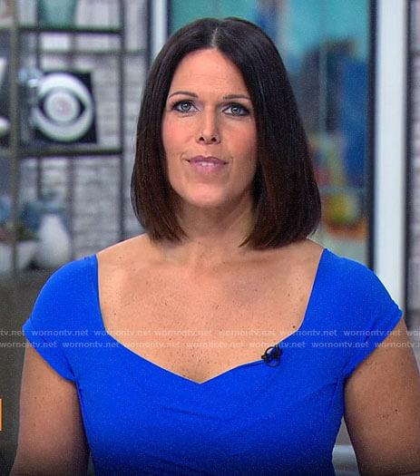 Dana Jacobson's blue cap sleeve dress on CBS Saturday Morning