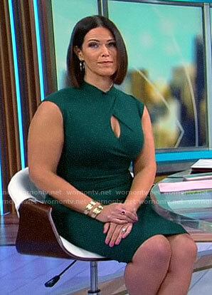 Dana Jacobson's green keyhole dress on CBS Mornings