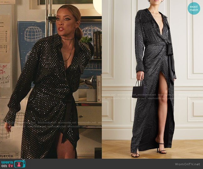 Crystal-Embellished Satin Wrap Gown by David Koma worn by Dominique Deveraux (Michael Michele) on Dynasty