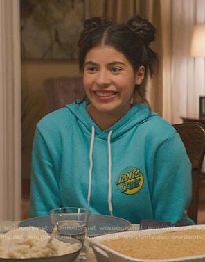 Dawn's teal hoodie on The Baby-Sitters Club