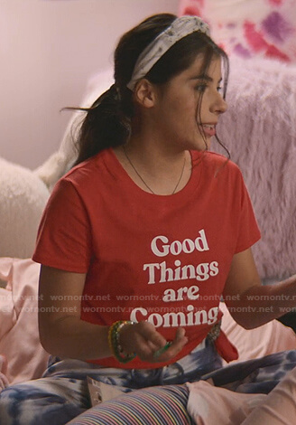 Dawn's red Good Things are Coming tee on The Baby-Sitters Club