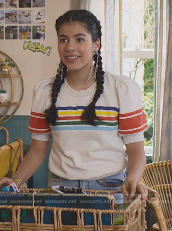 Dawn's white stripe tee and jeans on The Baby-Sitters Club