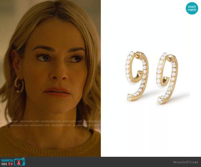 Demarson Pearl Luna Earrings worn by Alice Pieszecki (Leisha Hailey) on The L Word Generation Q