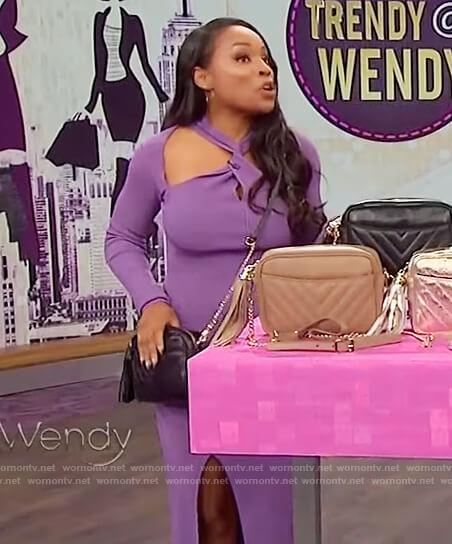 Devyn Simone's purple cutout dress on The Wendy Williams Show