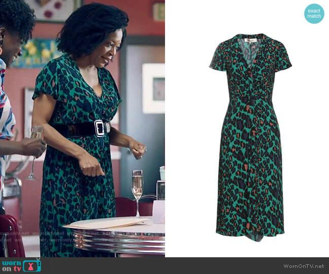 Diane von Furstenberg Leopard Midi Dress worn by Violet Bordelon (Tina Lifford) on Queen Sugar