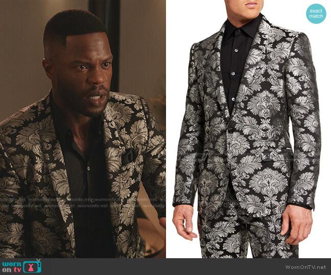 Baroque Jacquard Tuxedo Jacket by Dolce & Gabbana worn by Jeff Colby (Sam Adegoke) on Dynasty