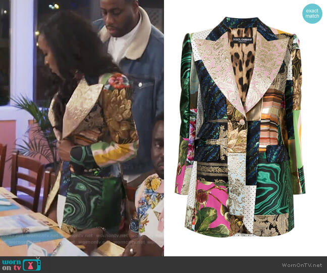 Single Breasted Patchwork Blazer by Dolce & Gabbana worn by Askale Davis on The Real Housewives of Potomac