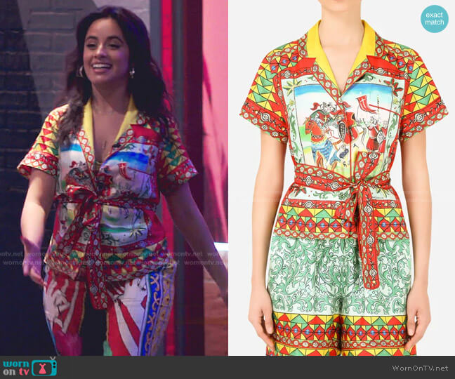 Carretto Print Belted Shirt by Dolce & Gabbana worn by Camila Cabello on The Voice