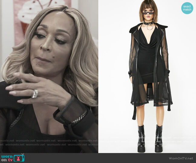 Dark Winning Streak Mesh Trench Coat by Dolls Kill worn by Karen Huger  on The Real Housewives of Potomac