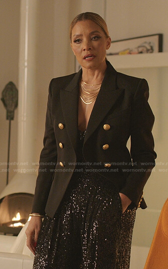 Dominique's black double breasted blazer and sequin pants on Dynasty