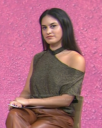 Donna's metallic cutout shoulder top on Today