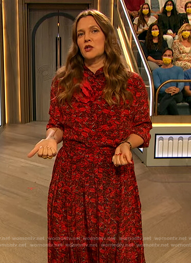 Drew's red lip print blouse and skirt on The Drew Barrymore Show